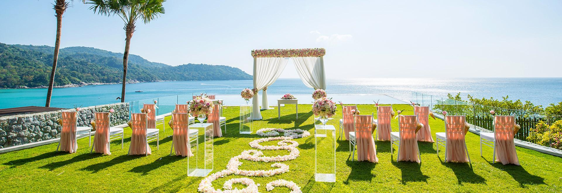 A scenic set up for a destination wedding
